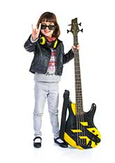 Girl student with the bass guitar.