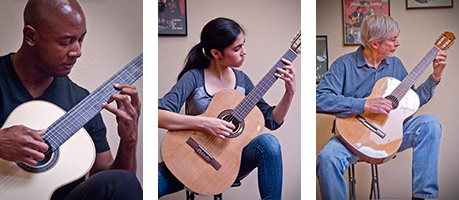 Students of classical guitar perform at a Paper Moon Music recital.
